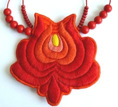 """A Bit of Hungary - Hand Emroidered """"Matyo"""" Folk Necklace - Red."""