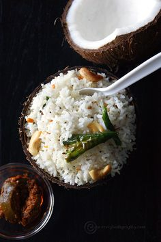 """Coconut Rice (Thengai Sadam)"", a flavorful South Indian variety rice."