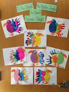 """PreK""""parrots"""" handprints"""