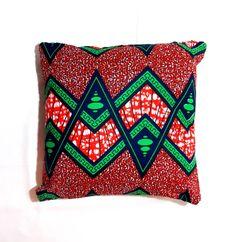 Red African print 50x50cm cushion