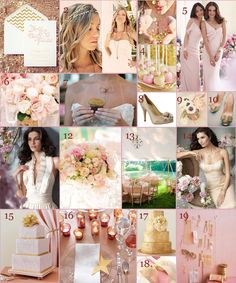 Glitter, metallic, gold, pink, blush, starry romance (Gold & Blush Wedding Ideas - WV WEDDINGS - Planner's Palette - designed by Caroline McKean - http://www.mywvwedding.com/Planners-Palette/July-2012/Starstruck/)
