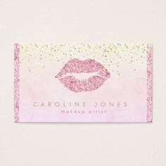 chic faux pink glitter lipstick kiss makeup artist business card - glitter glamour brilliance sparkle design idea diy elegant