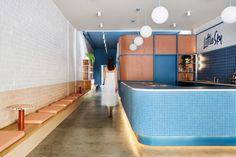 colourful ice cream shop - The Little Sky gelateria is a colorful ice cream shop in Melbourne that is designed by Ewert Leaf. Australian Interior Design, Interior Design Awards, Australian Homes, Blue Cafe, Colorful Ice Cream, Design Exterior, Bar Restaurant, Japanese Interior, Icecream Bar