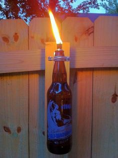beer bottle torches/ or any bottle that the wick will fit into. Old soda bottles would be cool too