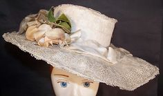 Victorian Tea Party Hats | Victorian Gibson Girl White Lace Floral Wide Brim Garden Tea Party Hat