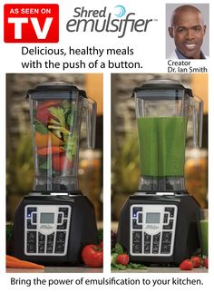 Create delicious healthy meals with the push of a button. The Shred Emulsifier pulverizes, liquefies and emulsifies ordinary ingredients, turning them into power-packed nutrient-rich soups, smoothies, salsas, frozen desserts and more. Its heavy-duty two-horsepower motor spins four surgically sharp blades up to 30,000 revolutions per minute, creating a cyclonic force that mixes ingredients throughout the carafe.
