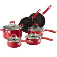 Shop for Guy Fieri Nonstick Aluminum 10pc Cookware Set Red. Get free delivery at…