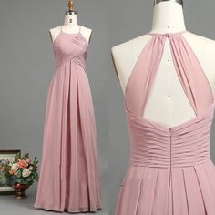 Simple a-line blush pink long chiffon bridesmaid dress