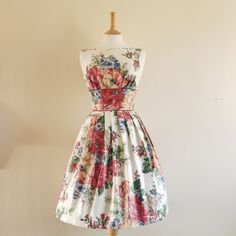 Rose Bouquet Print Cotton Prom Dress - made by Dig For Victory £99.00