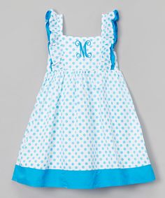 Look at this Blue Polka Dot Initial Dress - Infant, Toddler & Girls on #zulily today!