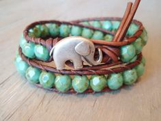 Bohemian leather wrap bracelet with green turquoise and an elephant!