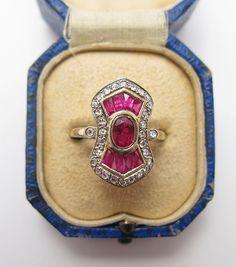 Art Deco 18K White Gold Ruby & Diamond Ring