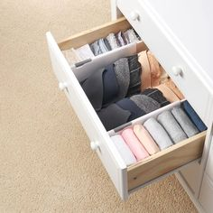 Drawer Divider - The One Thing I Bought (& Still Use!) After KonMari-ing My Entire Home Dresser Drawer Organization, Home Organisation, Diy Drawer Dividers, Organizing Ideas, Organization Ideas For Bedrooms, Small Room Organization, Clutter Organization, Food Pantry Organizing, Organizing Drawers