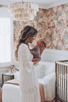 and baby wallpaper In the Nursery with Katrina Scott from Tone it Up Projekt Kindergarten - Katrina Scott und Baby Girl Newborn Nursery, Baby Girl Newborn, Girl Nursery, Baby Baby, Sew Baby, Baby Wallpaper, Tone It Up, Baby Girl Photos, Baby Pictures