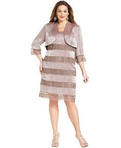 SL Fashions Plus Size Dress and Jacket, Sleeveless Lace Tiered Shimmer - Plus Size Dresses - Plus Sizes - Macy's