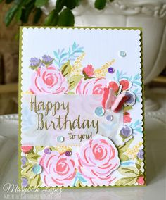 Marybeth's time for paper: WPlus9 Freehand Florals + Strictly Sentiments - Birthday card