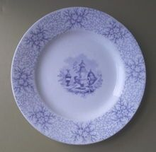 Pair of Cork & Edge c. 1860's/70's Light Blue Transferware Plates
