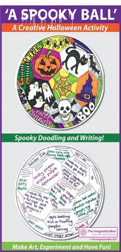 Imaginative and fun Halloween themed art activities for the busy teacher, just print and go! Printable coloring pages suitable for grades. Ideal for teachers looking for easy Halloween art projects in the classroom. Halloween Art Projects, Halloween Activities For Kids, Fall Art Projects, Projects For Kids, Spooky Halloween Decorations, Halloween Themes, Easy Halloween, Toddler Crafts, Preschool Crafts
