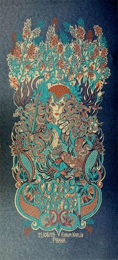 Queen of the stone age Sérigraphie trois couleurs sur papier anthracite métallisé, 180 exemplaires