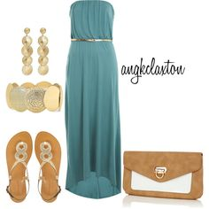 Teal Maxi, created by angkclaxton on Polyvore