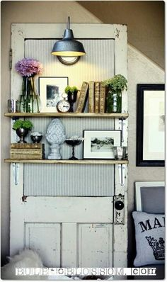 Bedroom idea---distressed door as shelves. Love.