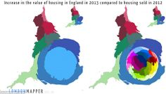 Shapes and sizes: These maps show the increases in the value of housing in England last year, compared to what was sold in 2012 - with a huge rise in London