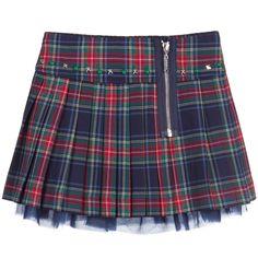 Navy Blue Pleated Tartan Skirt, Silvian Heach, Girl