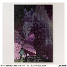 Black Beauty Friesian Horse - Puzzle Custom Gift Boxes, Customized Gifts, Make Your Own Puzzle, Friesian Horse, Big Picture, Horse Riding, Black Beauty, High Quality Images, Vibrant Colors