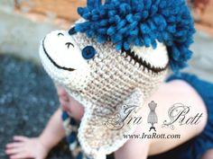 Handmade Crochet Sock Monkey Hat Navy Blue Mohawk