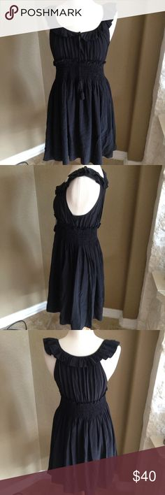 Joie 100% Black Silk Ruffle Neckline Dress Joie 100% Silk Black Ruffle Neckline dress is simple and elegant. Size Medium and in gently used condition. Please ask questions before you buy, thanks! Joie Dresses Midi