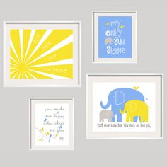 Kids Wall Art You Are My Sunshine Blue and Yellow by YassisPlace, $69.95