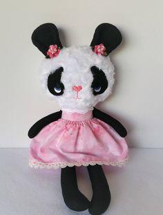 Handmade Rag Doll, Fabric Doll, Panda READY TO SHIP by MyAlabasterBoxBoutiq on Etsy