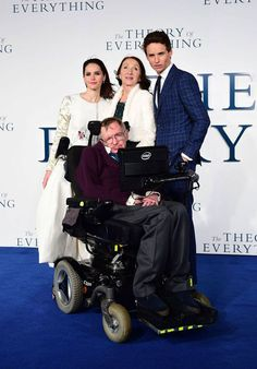 Dec. 9, 2014 - The Theory of Everything premiere with real-life Stephen Hawking & his wife Jane, pictured here with stars Eddie Redmayne & Felicity Jones who play them in the movie.