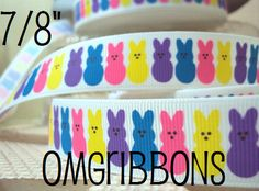 Easter Peeps Printed Grosgrain Ribbon Easter Hair Bow Colors for Easter Bulk Ribbon Easter Supplies Wide Ribbon