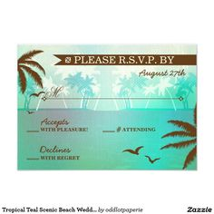 Custom Tropical Teal Scenic Beach Wedding RSVP Custom Announcements created by oddlotpaperie. This invitation design is available on many paper types and is completely custom printed. Beach Theme Wedding Invitations, Wedding Invitation Design, Wedding Stationery, Party Invitations, Invitation Paper, Custom Invitations, Invitation Ideas, Wedding Rsvp, Aqua Wedding