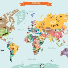 Countries of the World Map | Kids Country World Map Poster | Educational Map for Kids | Peel and Stick Poster Sticker