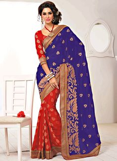Shop this product from here.. http://www.silkmuseumsurat.in/han-purple-and-red-faux-chiffon-jacquard-wedding-wear-saree?filter_name=4281  Item :#4281  Color	 : Blue, Red Fabric	 : Faux Chiffon, Jacquard Occasion	 : Bridal, Festival, Party, Reception, Wedding Style	 : Half n Half Saree Work	 : Booties, Embroidered, Patch Border, Printed