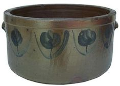 """Southern Cake Crock. Stoneware with Cobalt Floral Decorations. Baltimore, Maryland. Circa 1860. 6-1/2"""" x 12""""."""
