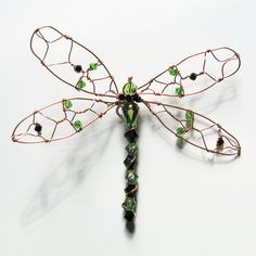 Wire work and Beaded Dragonfly Wall  Hanging by BeadedNature, $28.00