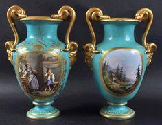 Par de vasos em porcelana Sevres do sec.19th, 29cm de altura, 23,545 EGP / 8,660 REAIS / 2,650 EUROS / 3,595 USD https://www.facebook.com/SoulCariocaAntiques