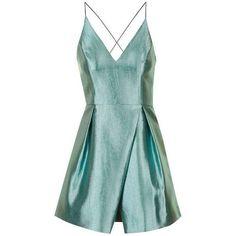 TopShop Petite Crinkle Satin Prom Dress ($140) ❤ liked on Polyvore featuring dresses, topshop, strap prom dresses, satin cocktail dress, mini dress, plunge-neck dresses and plunging neckline prom dress