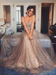 Sparkly Gold Sequin Suqare A-line Cheap Evening Prom Dresses c7b02b1364be