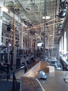 The view of the heavy machine shop from he superintendent's desk-where jobs and materials used were monitored and use of the equipment was scheduled. Lots of action, and plenty of noise! Alva Edison, Running Machines, Belt Shop, Machine Tools, Belts, Shops, Action, Desk, Flat
