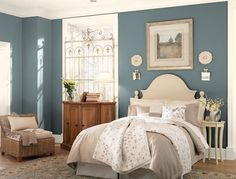 Benjamin Moore's Knoxville Gray, a mysterious and amorphous neutral that changes color throughout the day — greenish at night, bluish in the morning and more solidly gray in full sun.