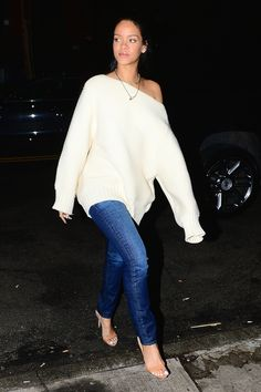 Leave It To Rihanna To Make A Baggy Knit Look Sleek #refinery29  http://www.refinery29.com/2015/01/80372/rihanna-oversized-sweater-outfit#slide-1  Rihanna hit the NYC streets in a stylish off-the-shoulder sweater and skinny jeans this week.