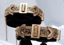 Pair Victorian 14K Black Taille d' Epergne Belt Buckle Wedding Bracelets