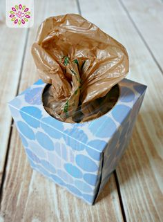 Corral your Harris Teeter bags in this upcycled tissue box. This and other DIY organization ideas from this site!  #HTCleanSpring