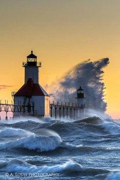 Big Blue whipped up into a frenzy in St. Joseph Pier lighthouse, Michigan