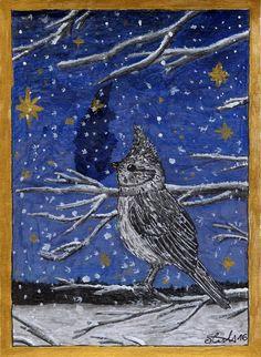 #weihnachten #christmas #Xmas #Bird #card #Zeichnungen #drawings #Karte #snowflakes #snow #Schnee #winter #Winter #night #Nacht #animal #Tier #Star #Stern #Himmel