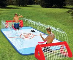 I want this!! Table hockey+real hockey+ slip and slide= awesome! Possibly a little dangerous lol :)